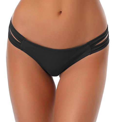 SHEKINI Damen Niedrige Taille Bikini Bottom Bademode Tanga Bikinihose String Rüschen Brazilian Bikini Slip (M, Schwarz)
