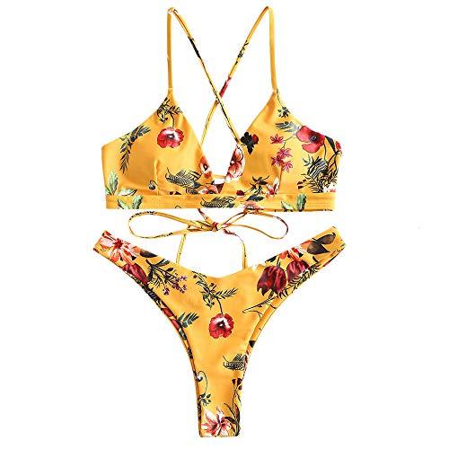 ZAFUL Damen Bikini-Set Geblumtes Bikini Set mit Schnürung Push Up Gepolsterte Bademode Bikinis Swimwear Swimsuit Gelb Medium