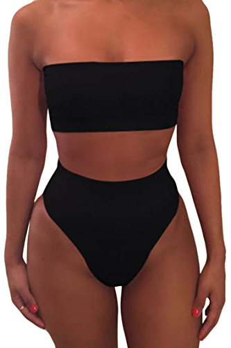 Viottisetet Bandeau Top Damen Bikini Set High Waist Badeanzug mit Abnehmbare Träger, 01 Schwarz, XL
