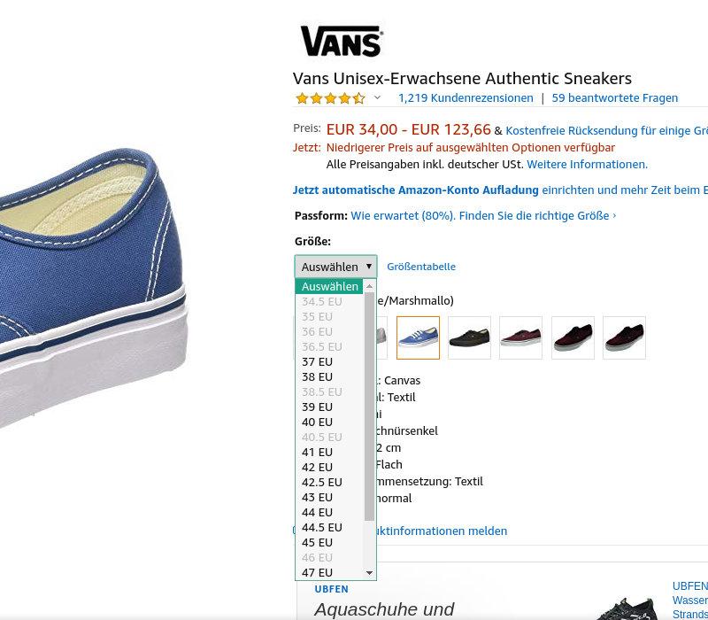 Vans Authentic nicht alle Größen
